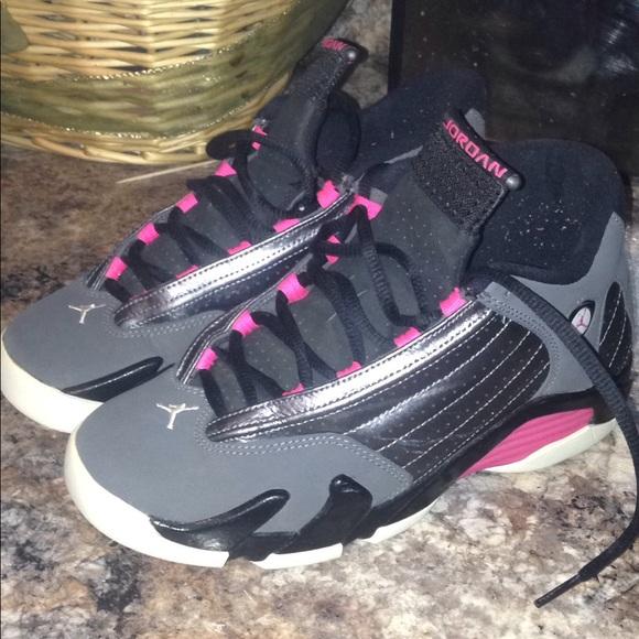 the latest 13563 2482e Jordan 14's black, grey, white & pink